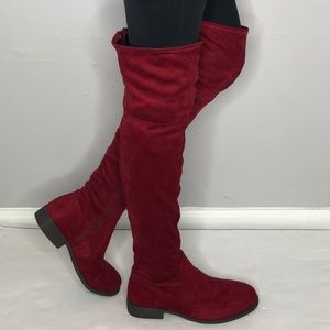 NWOT CHINESE LAUNDRY Red suede over the knee boots